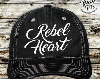 7899d99d75bea Rebel Heart Distressed Hat Low Profile Cap Trucker Hat Womens hat Arrow  Country Country song Country Lyrics Cap Baseball cap