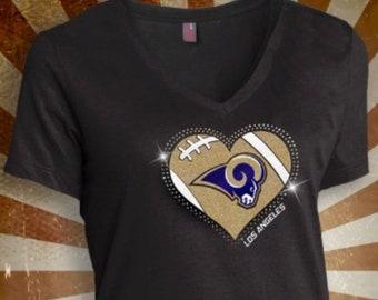 LA Rams Rhinestone Glitter Bling T-shirt Ladies Vneck cba75ce7f