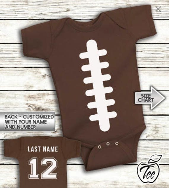 3e40f9389 Football Onesies Baby Bodysuit Infant Baby Personalized with Name and Number  Creeper Custom Jersey baby shower gift sports team unisex