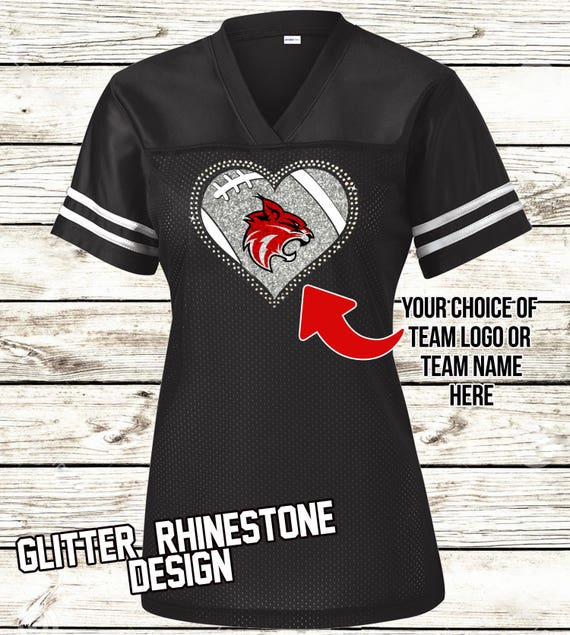 ... Custom Ladies Football Jersey Rhinestone Glitter Bling Et official shop  08ecd 3460e d357bcf1e