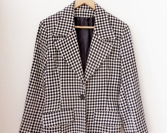 Veste vintage femme noir et blanche - Année 80 - Taille 38 40 7fc29af611e