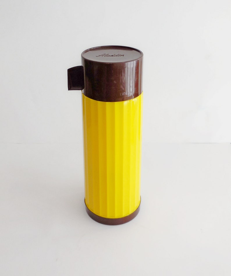 Vintage Aladdin Thermos England Made In Isotherme Jaune Marron Bouteille Années Et 70 xdoCeBWr