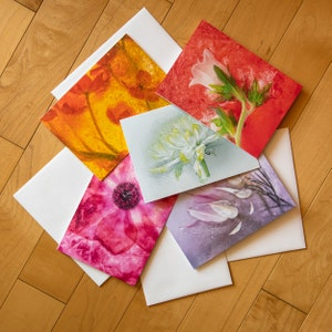 Set of 5 Fine Art Blank Greeting Cards wenvelopes All Occasion Cards large  5x7 Handmade blank Note Cards Beautiful Floral  Collection