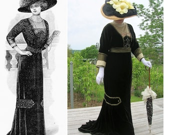 Digital Sewing Pattern Multi-Size ~ Ladies' 1910 Formal Afternoon or Dinner Gown - PDF to Print at Home~All 4 Sizes Incl'd. (# 1910-A-015)