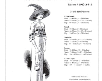 Digital Sewing Pattern~Ladies' 1912 Edwardian Titanic era Dress in 5 Sizes ~XS to XL (in PDF to print at home) Pattern #1912-A-016
