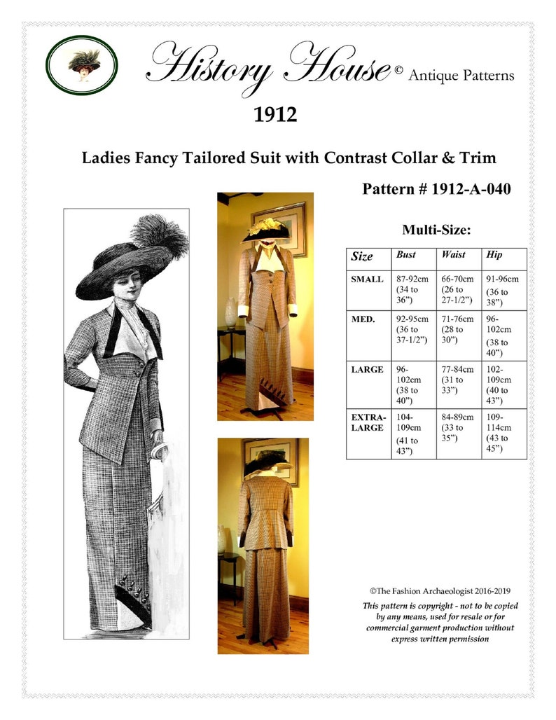 Edwardian Sewing Patterns- Dresses, Skirts, Blouses, Costumes Digital Pattern~Ladies 1912 Edwardian/Titanic Walking Suit (in PDF to print at home) Pattern #1912-A-040 $18.00 AT vintagedancer.com