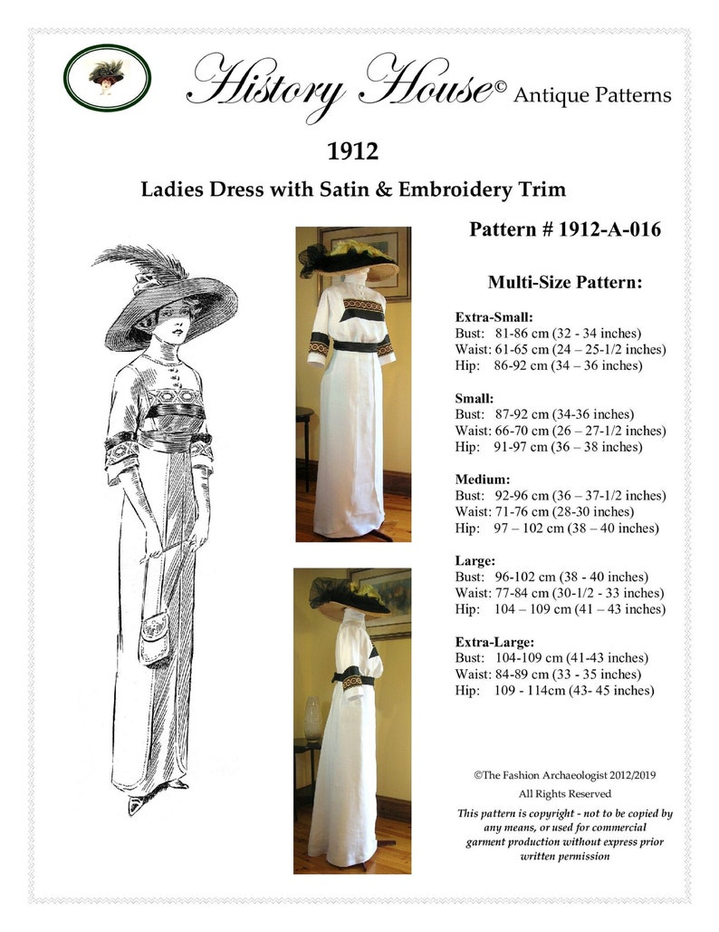 Edwardian Sewing Patterns- Dresses, Skirts, Blouses, Costumes Antique Sewing Pattern (Paper)~Ladies 1912 Edwardian/Titanic Era Dress~MULTI-SIZE~ Pattern #1912-A-016 (PAPER version avail. to U.S. only) Antique Sewing Pattern (Paper)~Ladies $22.95 AT vintagedancer.com