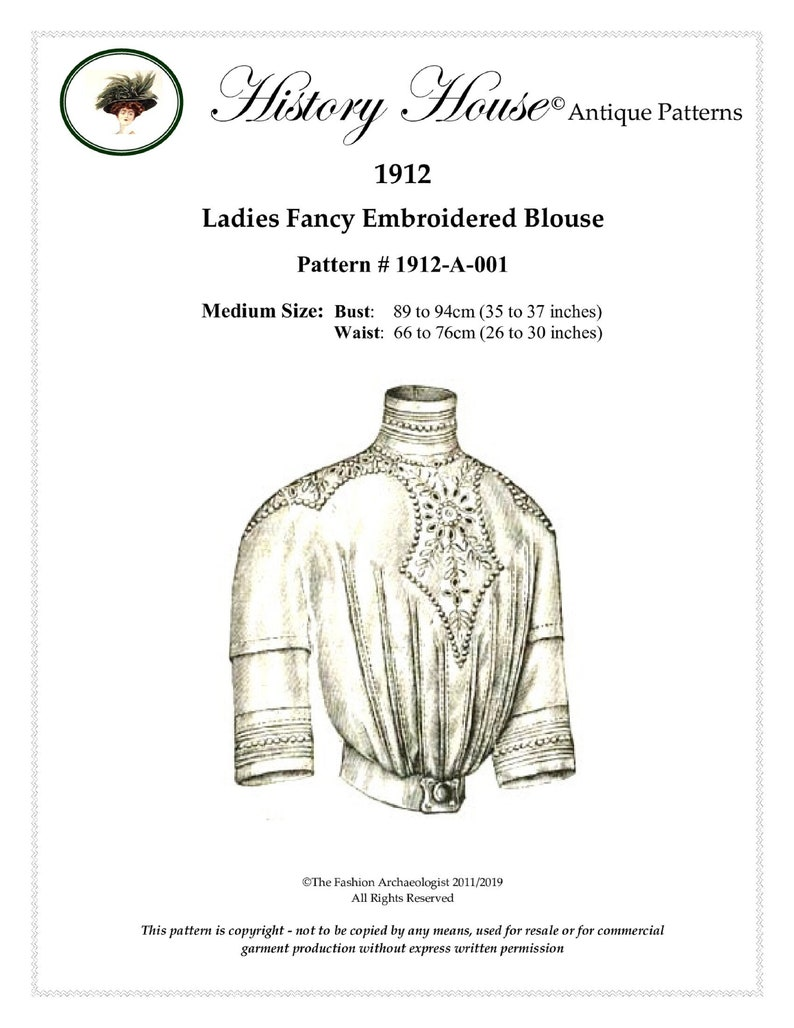 Edwardian Sewing Patterns- Dresses, Skirts, Blouses, Costumes Digital Antique Sewing Pattern Sz MEDIUM only ~ 1912 Edwardian Blouse w high collar ~ Full Size PDF to Print at Home (Pattern#1912-A-001) $14.00 AT vintagedancer.com