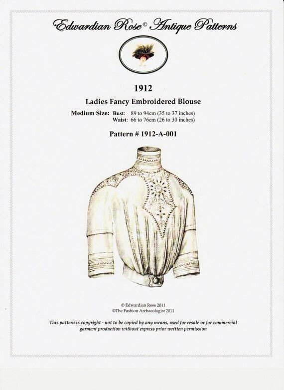 Digital Antique Sewing Pattern Sz Medium Only 1912 Edwardian Etsy
