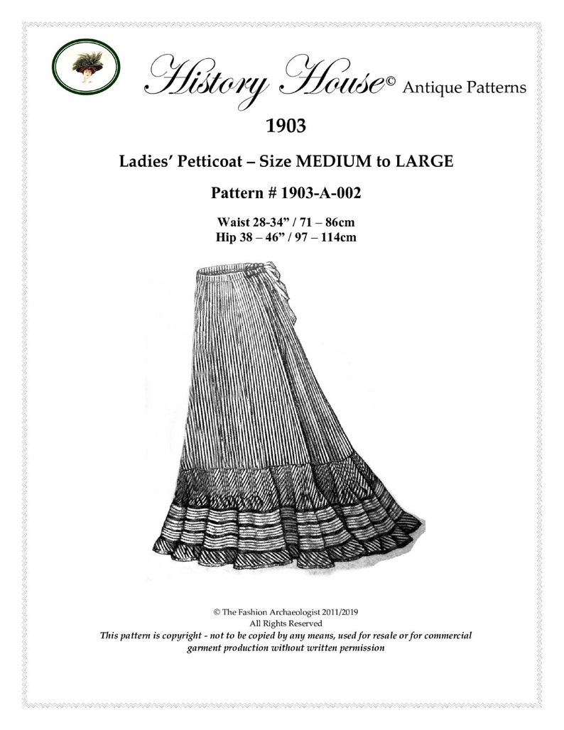 Edwardian Sewing Patterns- Dresses, Skirts, Blouses, Costumes Edwardian Petticoat in PDF to print at home ~ Dual-size (M & Lrg Incld) Pattern#1903-A-002 $14.00 AT vintagedancer.com