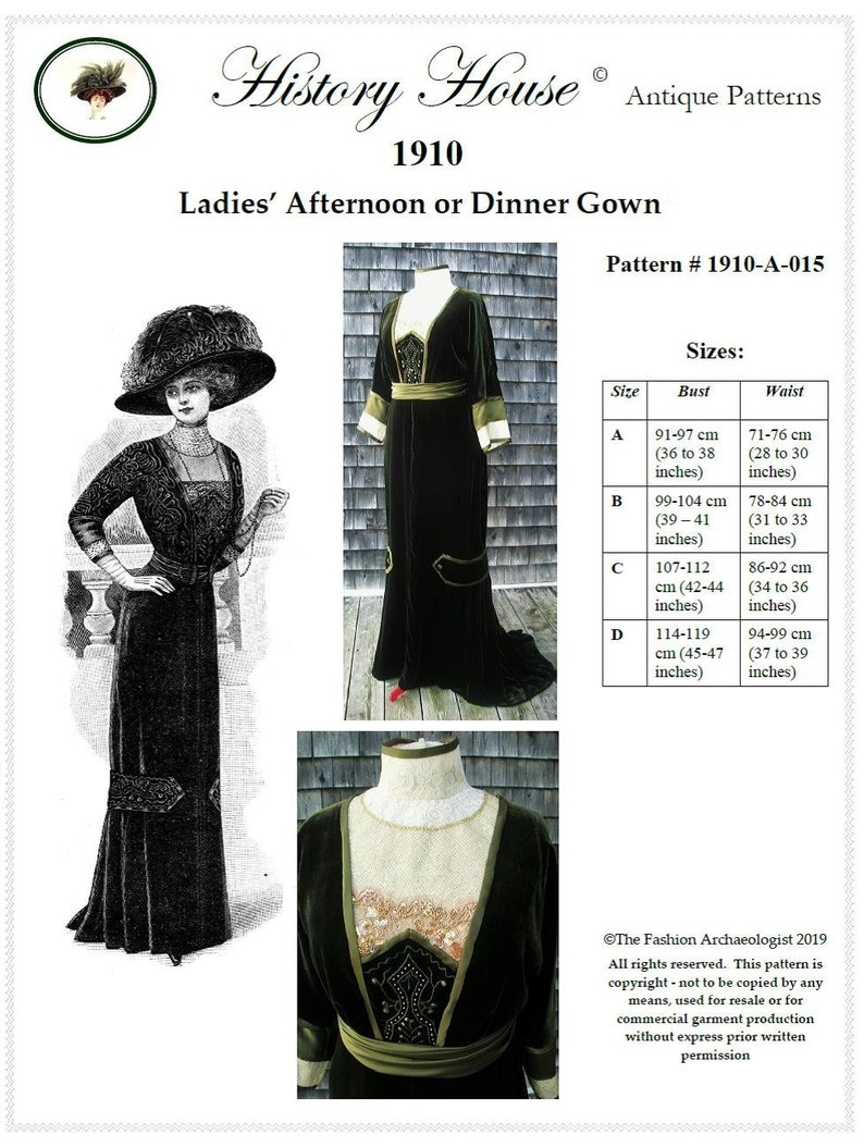 Edwardian Sewing Patterns- Dresses, Skirts, Blouses, Costumes 1910 Formal Afternoon or Dinner Gown - PDF to Print at Home~All 4 Sizes Incld. (# 1910-A-015) Digital Sewing Pattern Multi-Size ~ Ladies  $18.00 AT vintagedancer.com