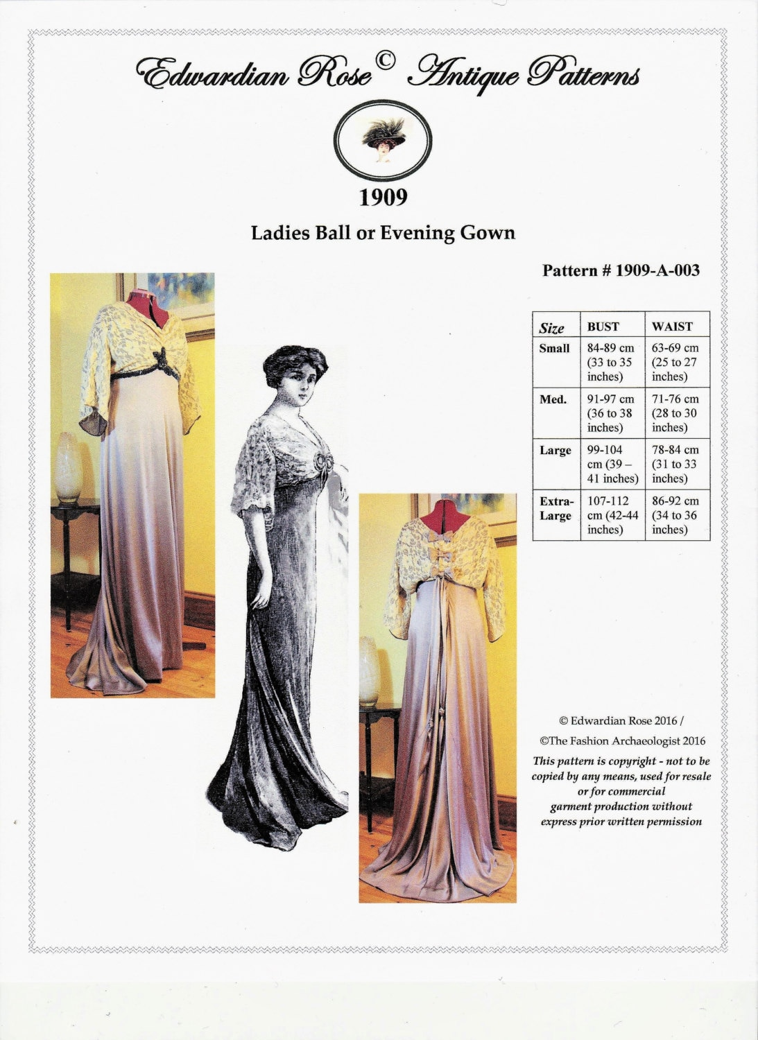 Edwardian Sewing Patterns- Dresses, Skirts, Blouses, Costumes  1909 Edwardian Titanic Grand Ball/Evening Gown (in PDF to print at home) Pattern #1909-A-003 $28.00 AT vintagedancer.com