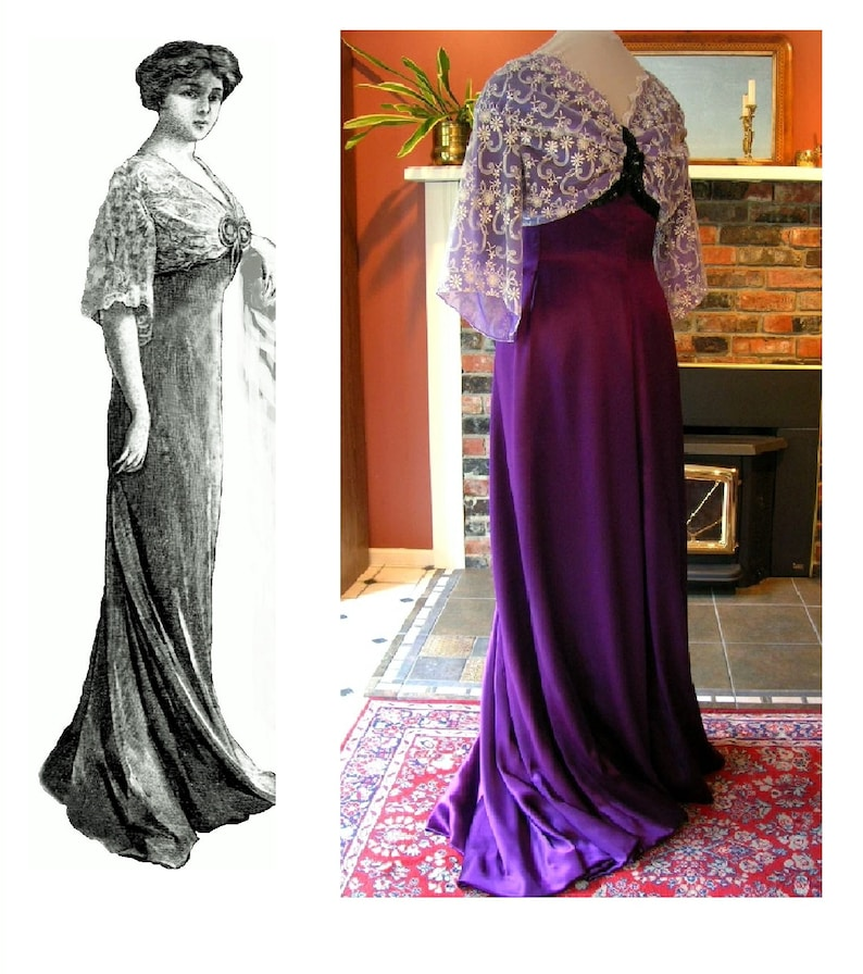 Edwardian Sewing Patterns- Dresses, Skirts, Blouses, Costumes 1909 Edwardian Titanic Grand Ball/Evening Gown (in PDF to print at home) Pattern #1909-A-003 Digital Sewing Pattern~Ladies  $26.00 AT vintagedancer.com
