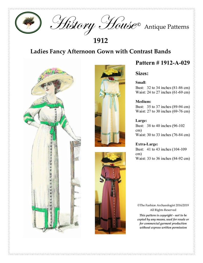Edwardian Sewing Patterns- Dresses, Skirts, Blouses, Costumes Digital Pattern~Ladies 1912 Edwardian/Titanic era Afternoon Gown in Sizes SM to XL (in PDF to print at home) Pattern #1912-A-029 $16.00 AT vintagedancer.com