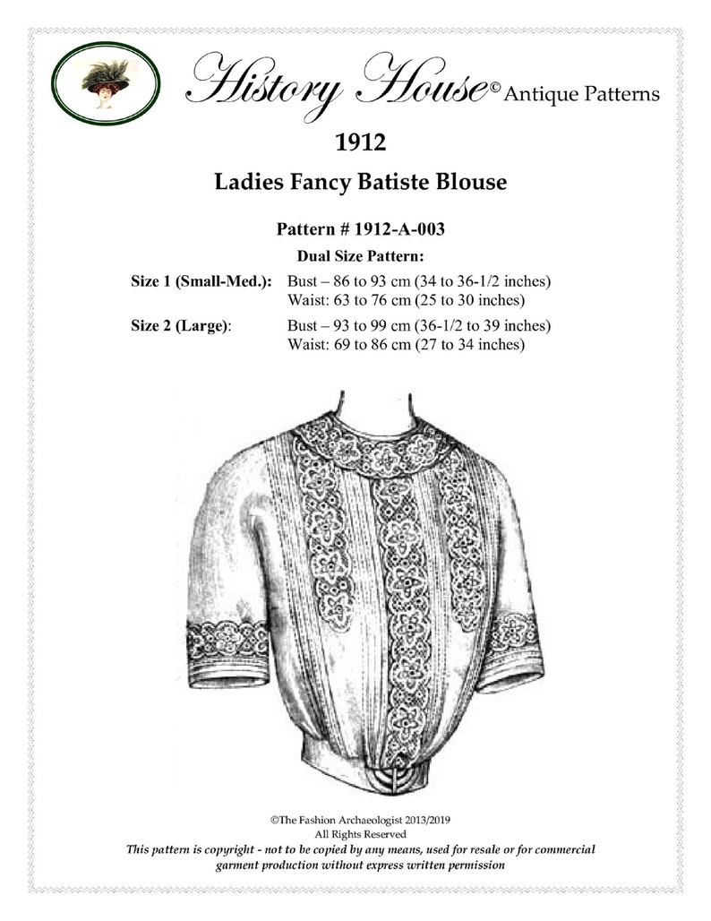 Edwardian Sewing Patterns- Dresses, Skirts, Blouses, Costumes Digital Antique Sewing Pattern ~ Lovely Edwardian 1912 Titanic Era Blouse ~ in PDF format to Print at Home - Dual Sz Sm/Med & Large $14.00 AT vintagedancer.com