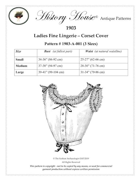 ~ Edwardian 1903 Ladies/' Corset Cover Antique Pattern-Size MEDIUM 1 size only