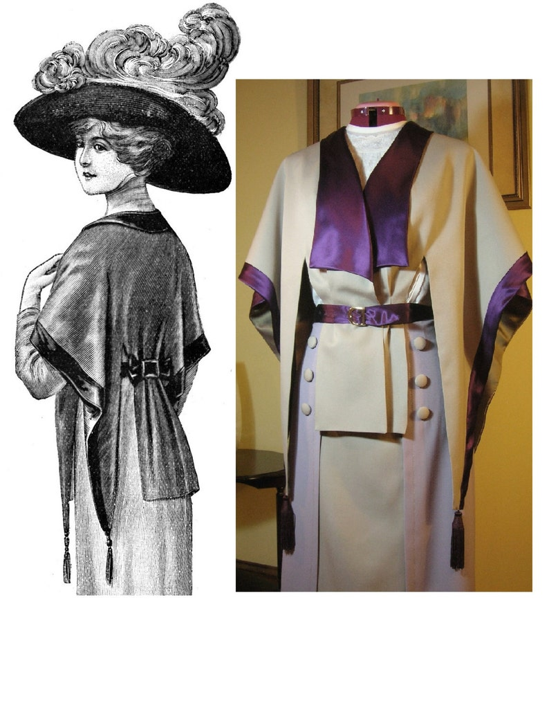 Titanic Clothing, Fashion, Outfit Ideas Digital Antique Sewing Pattern Multi-Size ~ Elegant 1912 Edwardian Cape-Jacket in PDF format to Print at Home - Sm/Med & Lrg/XL Sz Range! $15.00 AT vintagedancer.com
