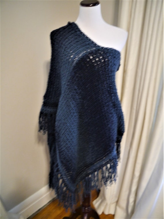 Shades of Blue Poncho, Adult Tunisian Crochet warp with deep v-neck, off  shoulder, poncho with fringe