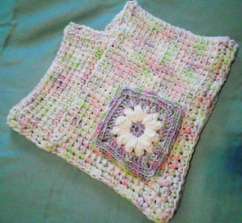 PONCHO Toddler Child Pink Green Purple Tunisian Crochet Daisy Granny Square Pocket in the Front