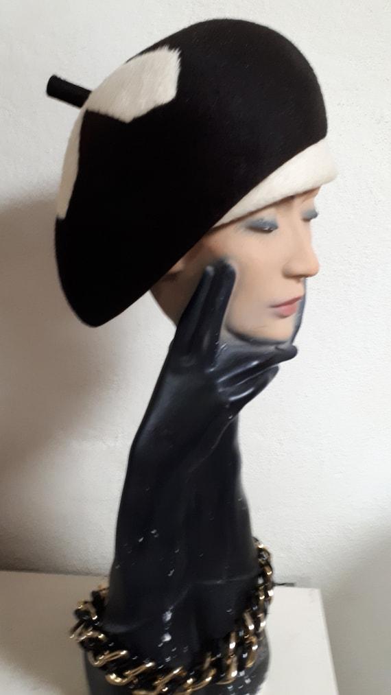ELSA SCHIAPARELLI vintage hat, fifties, hare felt… - image 2