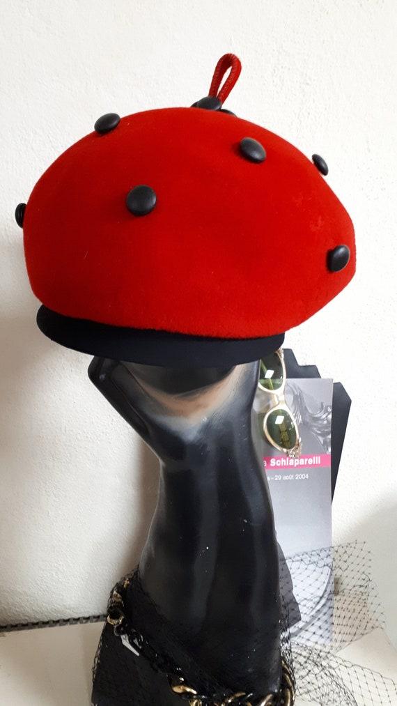 ELSA SCHIAPARELLI vintage hat, fifties, LADYBIRD … - image 6