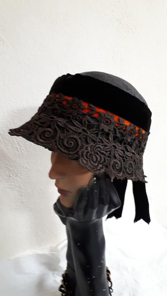 Elsa Schiaparelli couture hat, vintage cloche, six