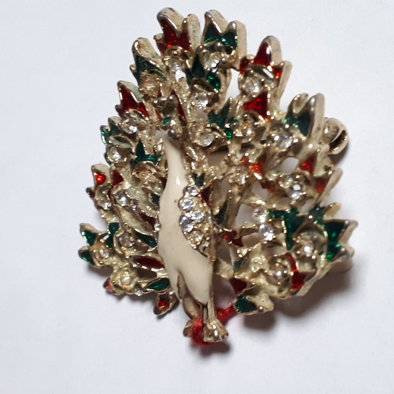 Christmas peacock clear rhinestones Peacock vintage brooch red and green
