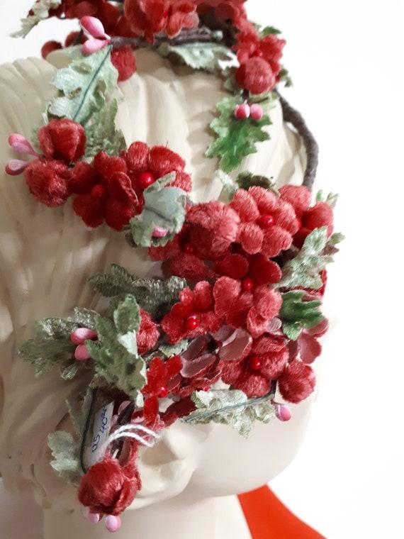 Vintage floral tiara cum hat, red velvet flowers ,