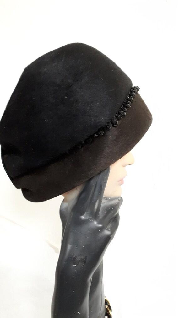 ELSA SCHIAPARELLI cloche style vintage hat, black… - image 4