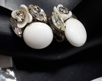 Miriam Haskell, white summer ear clips, signed. Cult, collectible.