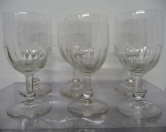 FRENCH antique red wine glasses, cut glass, perfect condition