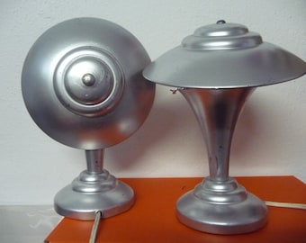 FRENCH antique lamps * 30s * Pair * all original * silver-painted over bronze *