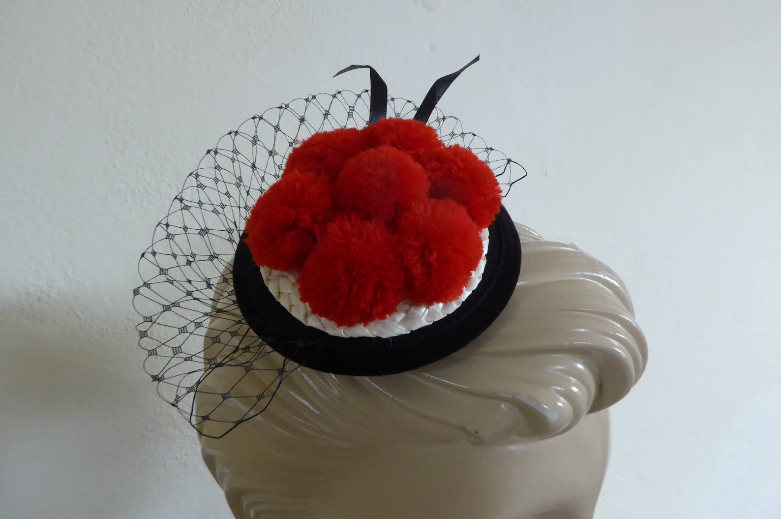 Black Forest, Oktoberfest - 8 cm red pompom hat on fascinator with veiling. Bollenhut