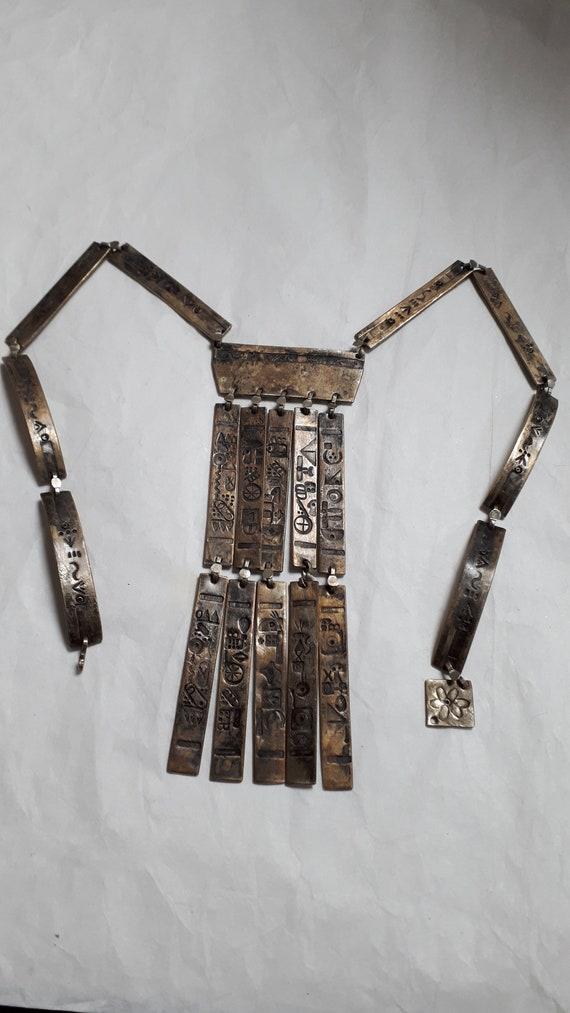 ARTISAN necklace, hieroglyphics, solid brass, UNI… - image 4