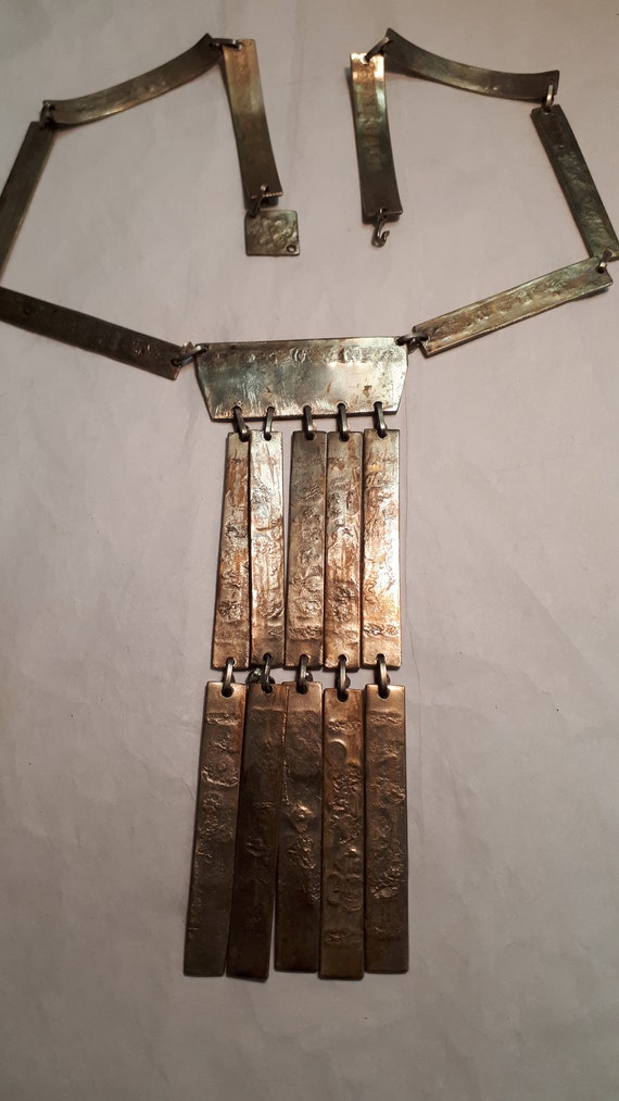 ARTISAN necklace, hieroglyphics, solid brass, UNI… - image 8