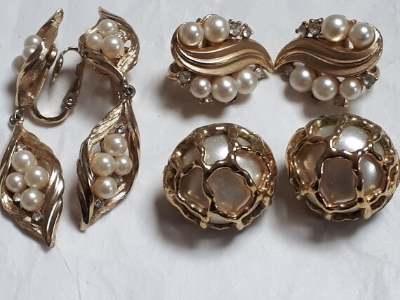 3 Pair TRIFARI PEARL earrings, clipons, goldtone,