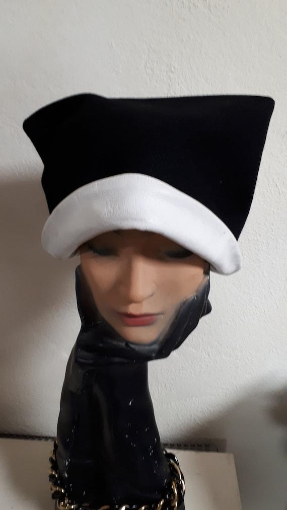 ELSA SCHIAPARELLI vintage hat, fifties, rare, bla… - image 9