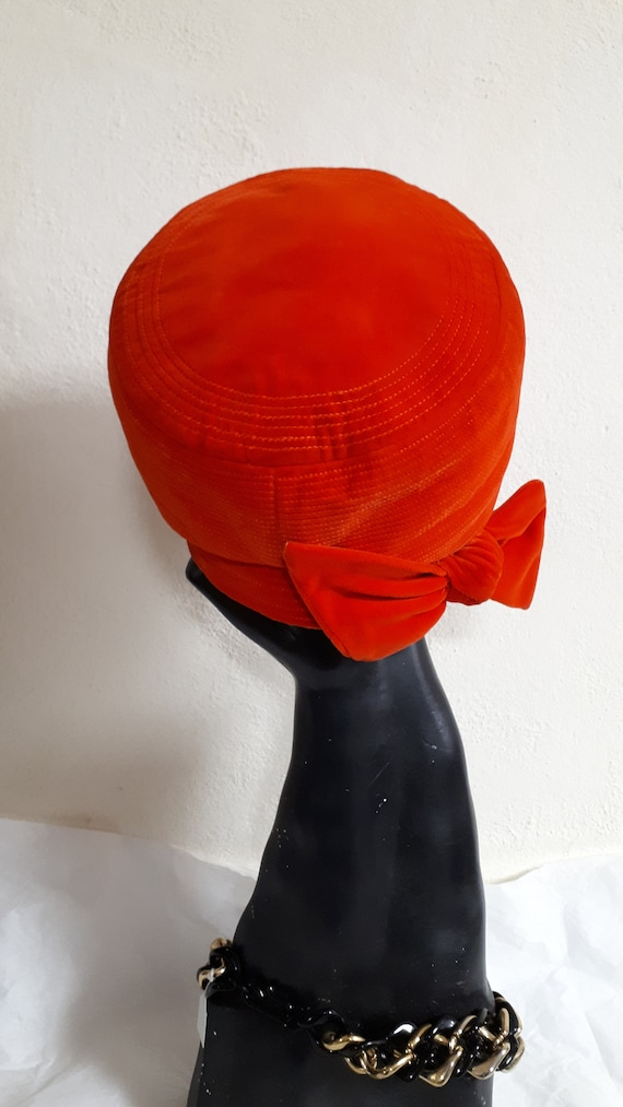 ELSA SCHIAPARELLI, haute couture hat, RED velvet,… - image 6