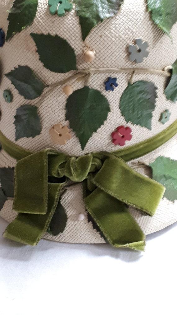 ELSA SCHIAPARELLI vintage hat, straw with appliqu… - image 8