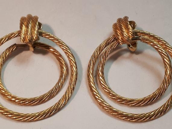 TRIFARI hoop clipon earrings, double hoop, goldton
