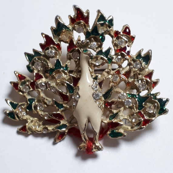 Peacock vintage brooch, Christmas peacock, red and