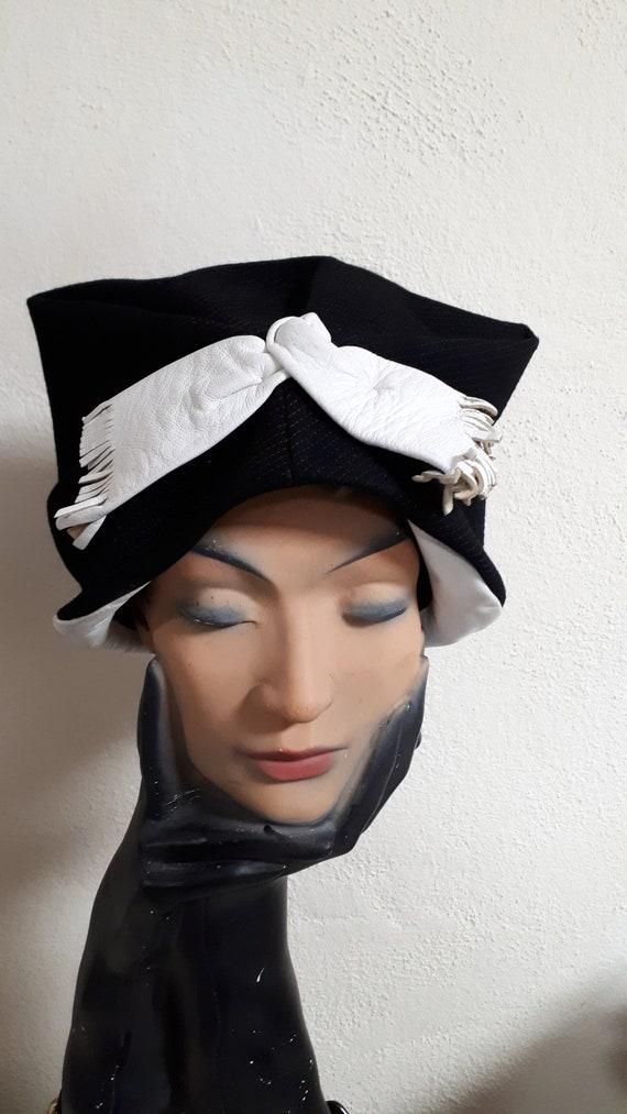 ELSA SCHIAPARELLI vintage hat, fifties, rare, bla… - image 1
