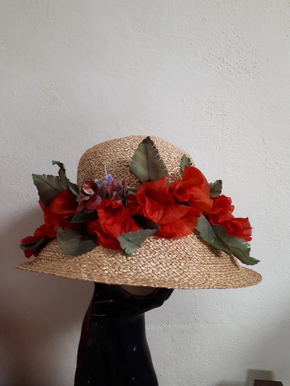 ELSA SCHIAPARELLI vintage hat, straw with poppies