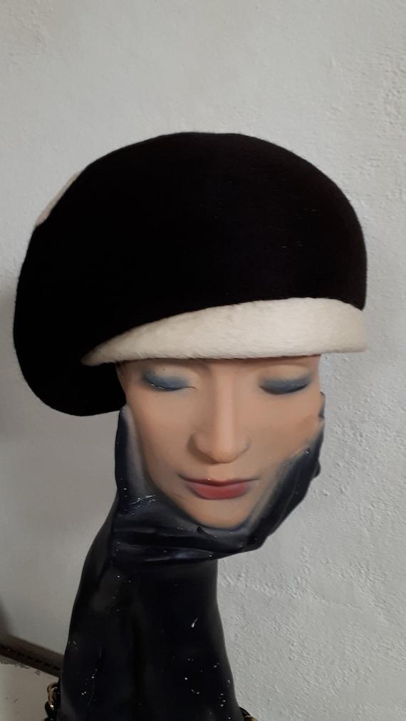 ELSA SCHIAPARELLI vintage hat, fifties, hare felt… - image 3