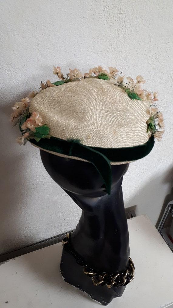 ELSA SCHIAPARELLI vintage summer hat, fifties, st… - image 4