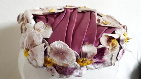 ELSA SCHIAPARELLI hat, velvet pansies, lots of pa… - image 2
