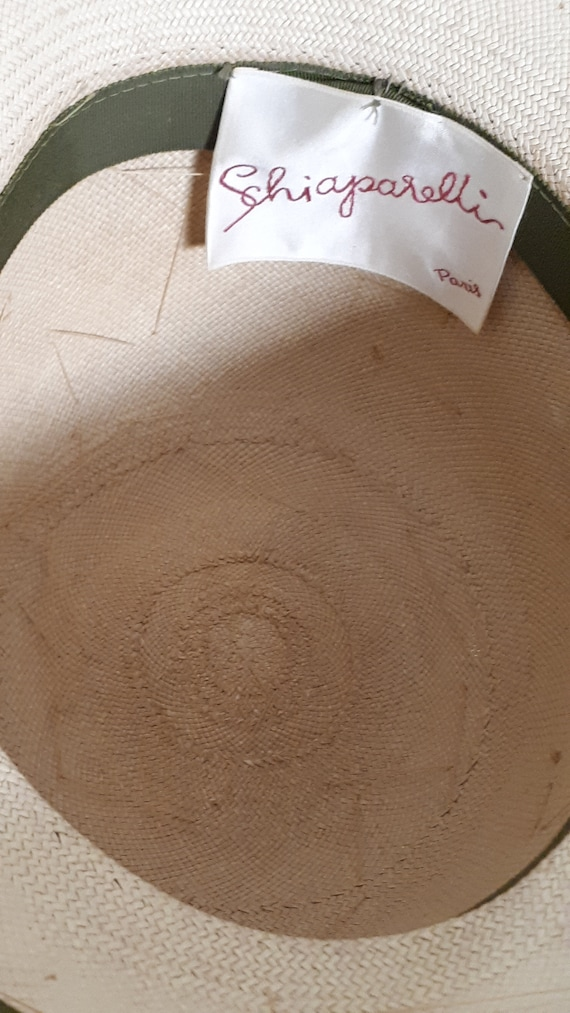 ELSA SCHIAPARELLI vintage hat, straw with appliqu… - image 6