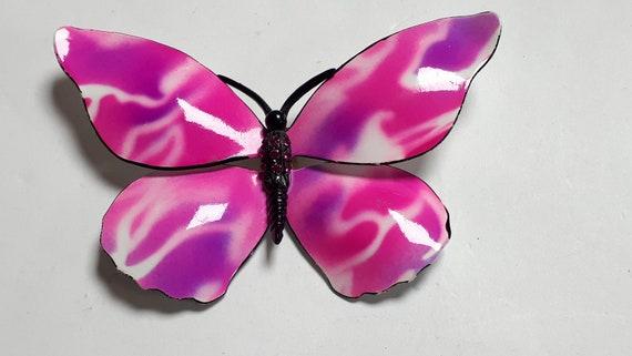 HUGE PINK butterfly brooch, enamelled metal, vinta