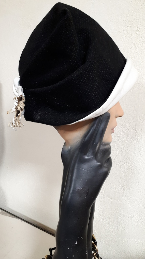 ELSA SCHIAPARELLI vintage hat, fifties, rare, bla… - image 4