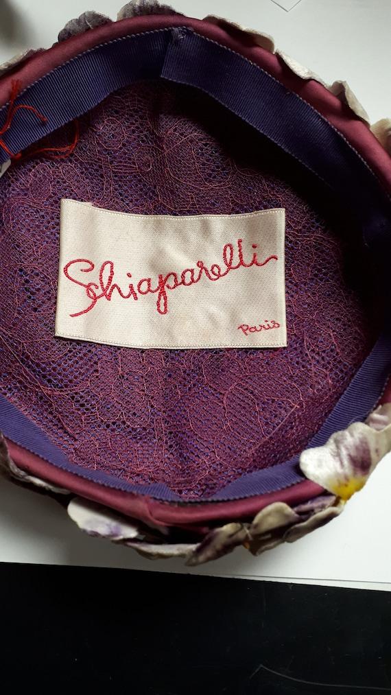 ELSA SCHIAPARELLI hat, velvet pansies, lots of pa… - image 6